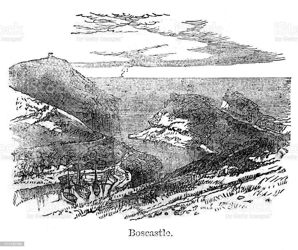 Boscastle Cornwall England from 1867 journal vector art illustration