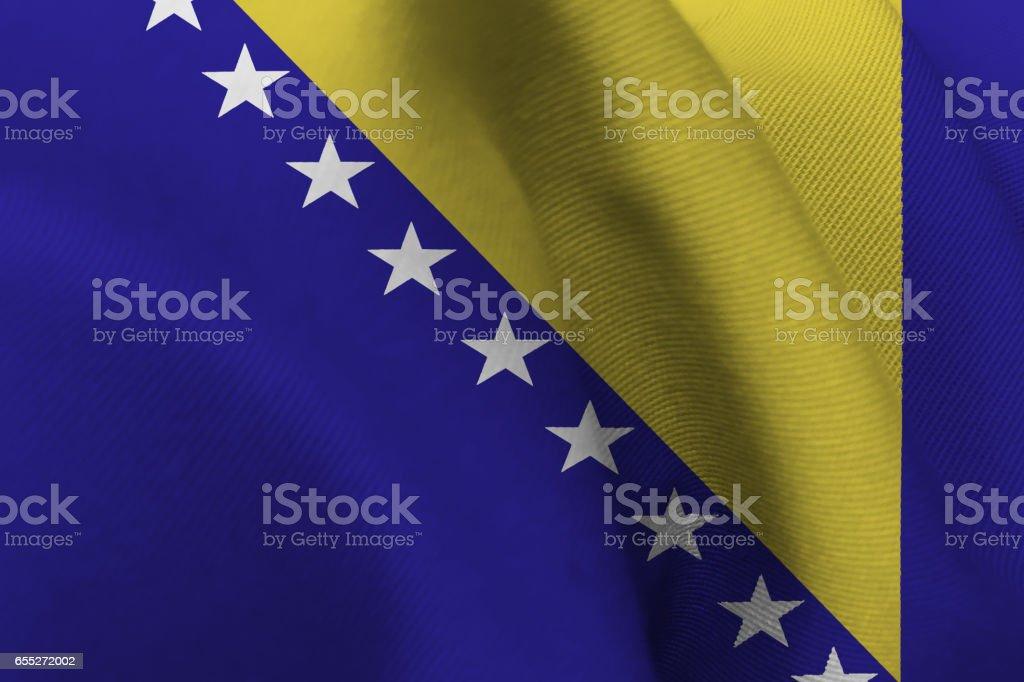 Bosnia and herzegovina national flag 3D illustration symbol. vector art illustration