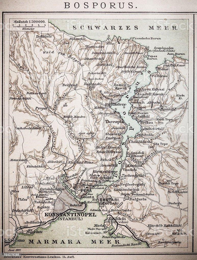 Bosporus map vector art illustration