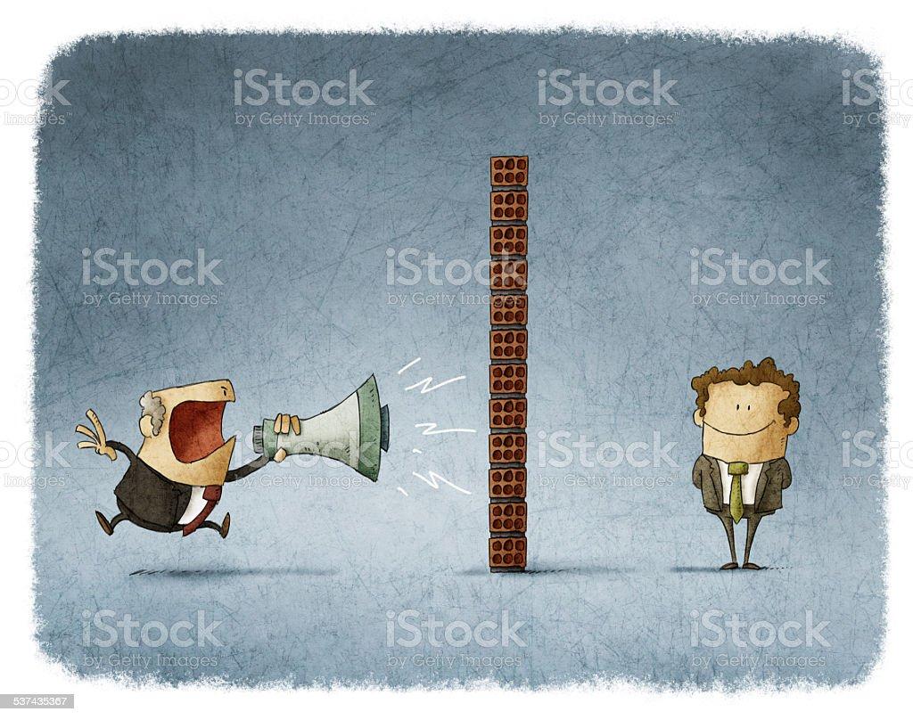 boss and employee communication vector art illustration