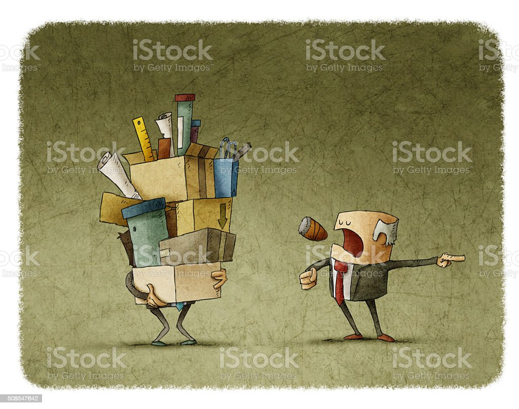 Boss firing the employee vector art illustration