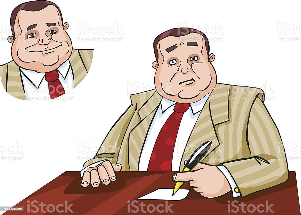 Boss sitting at his workplace royalty-free stock vector art