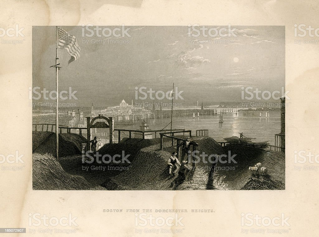 Boston from Dorchester Heights (Geo Virtue 1839) royalty-free stock vector art