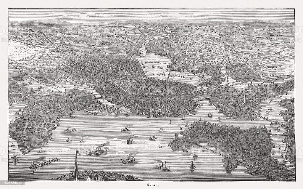 Boston in the 19th century, wood engraving, published in 1882 vector art illustration
