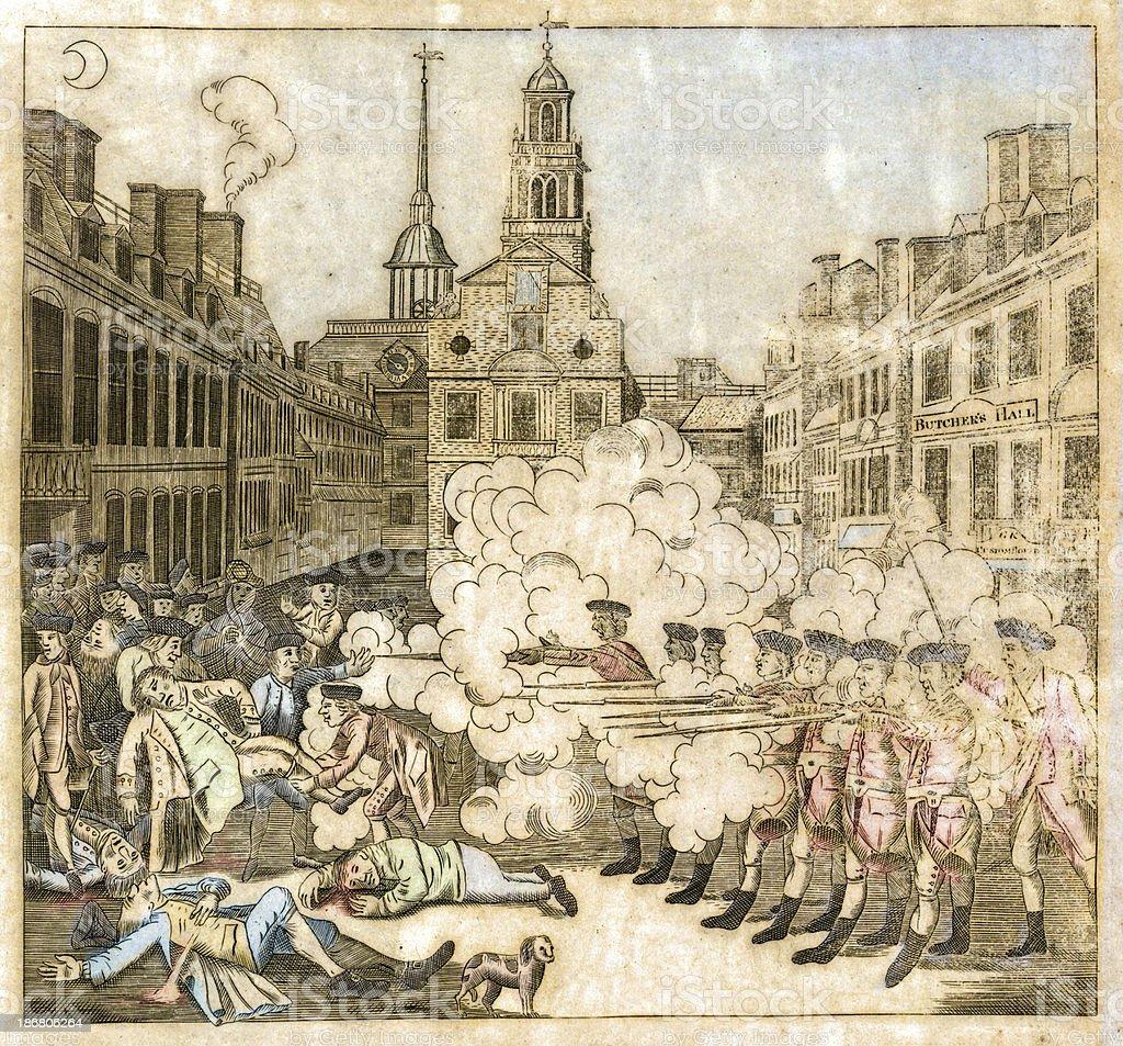 Boston Massacre, 1770 vector art illustration