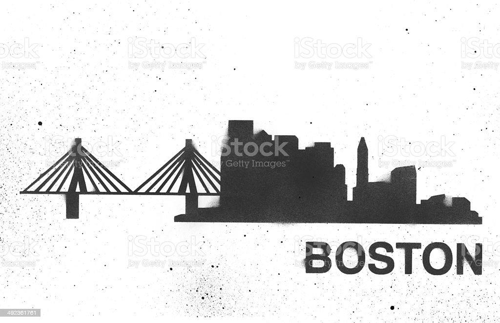 Boston Skyline Stencil vector art illustration