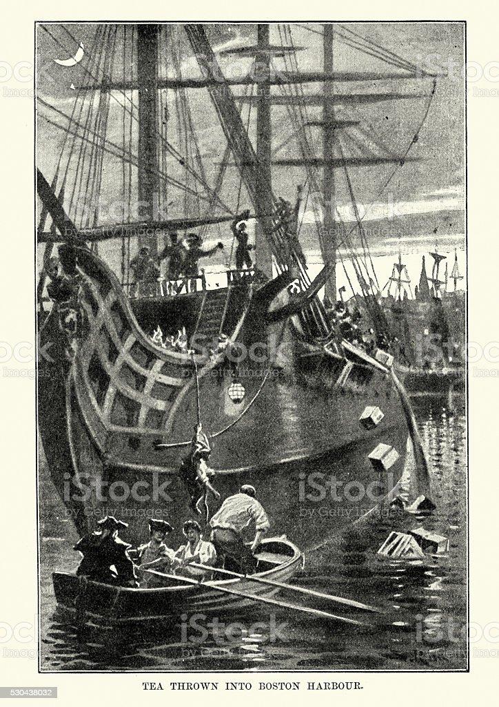 Boston Tea Party 1773 vector art illustration