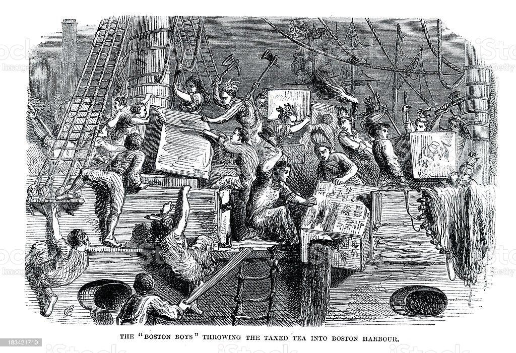 Boston Tea Party vector art illustration