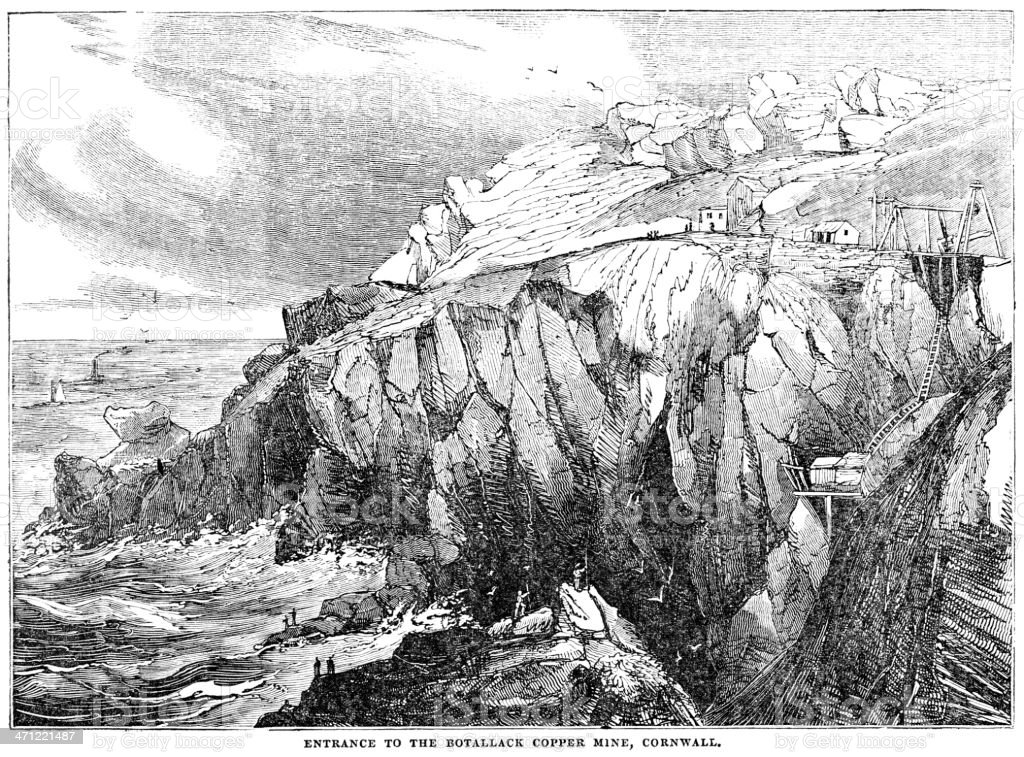 Botallack Copper Mine, Cornwall - 1833 woodcut royalty-free stock vector art