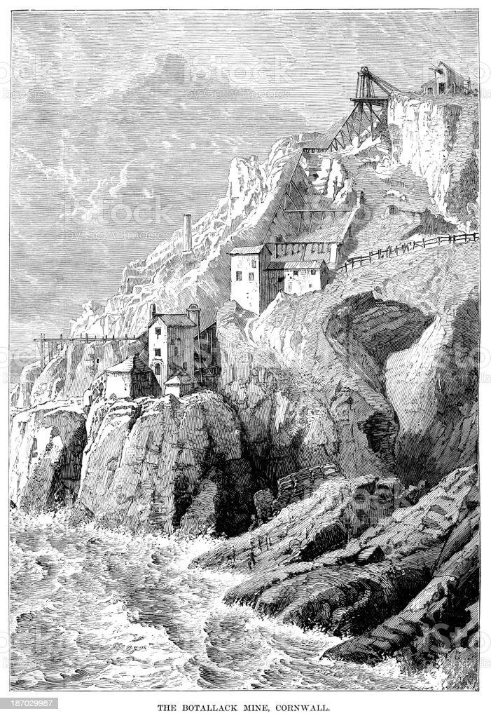 Botallack Mine, Cornwall vector art illustration