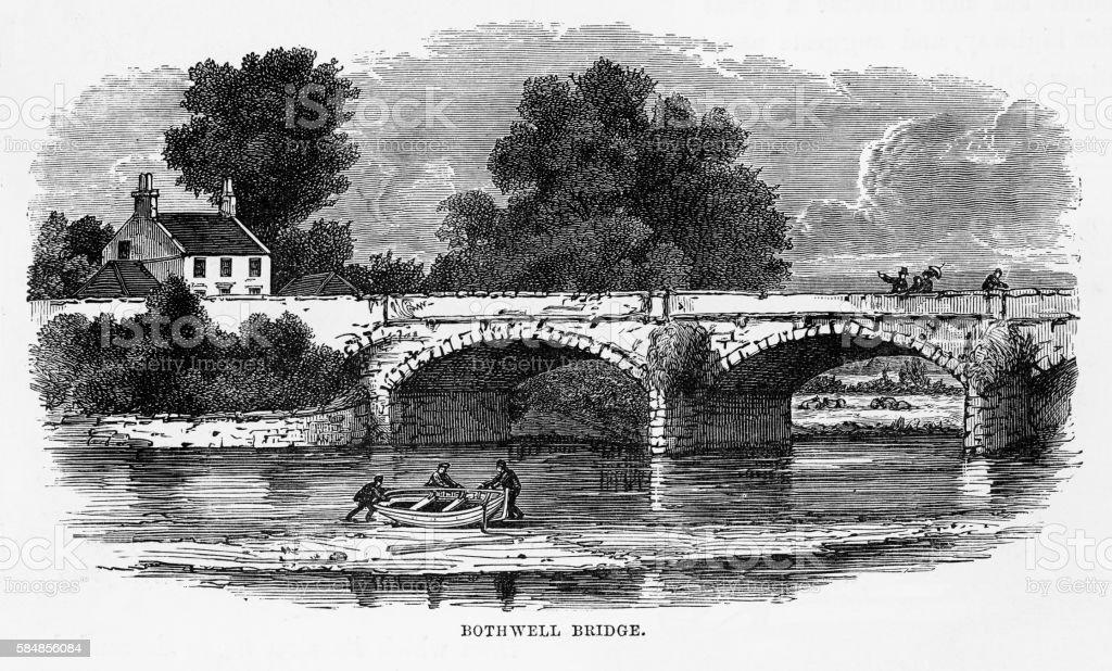 Bothwell Bridge, Bothwell, South Lanarkshire, Scotland Victorian Engraving, 1840 vector art illustration