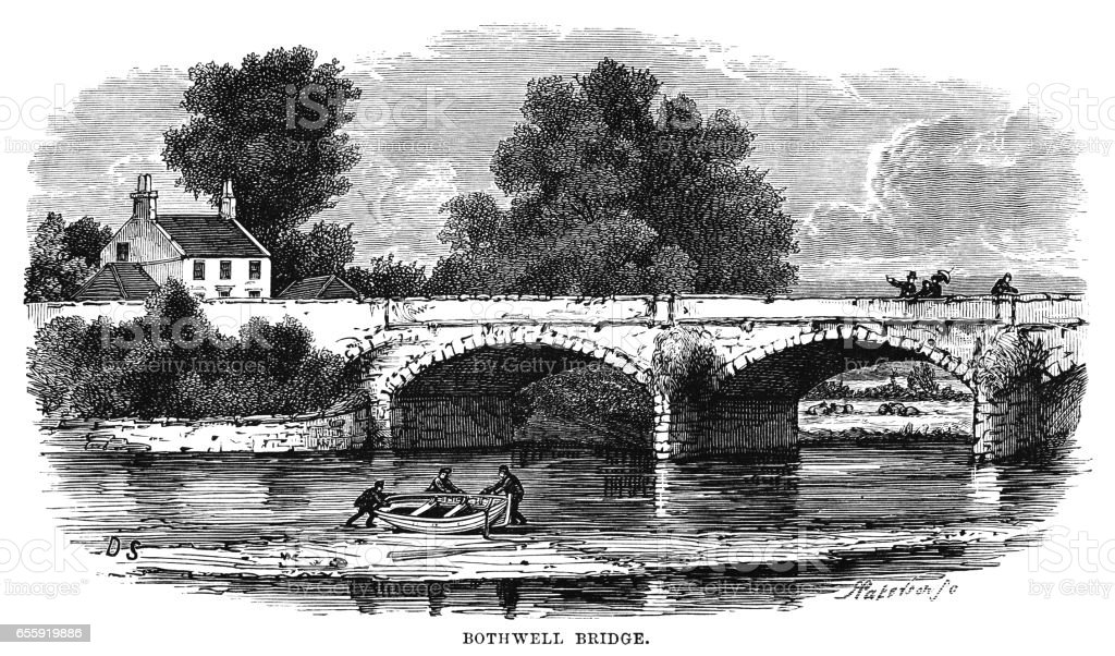 Bothwell Bridge, South Lanarkshire, Scotland (Victorian engraving) vector art illustration