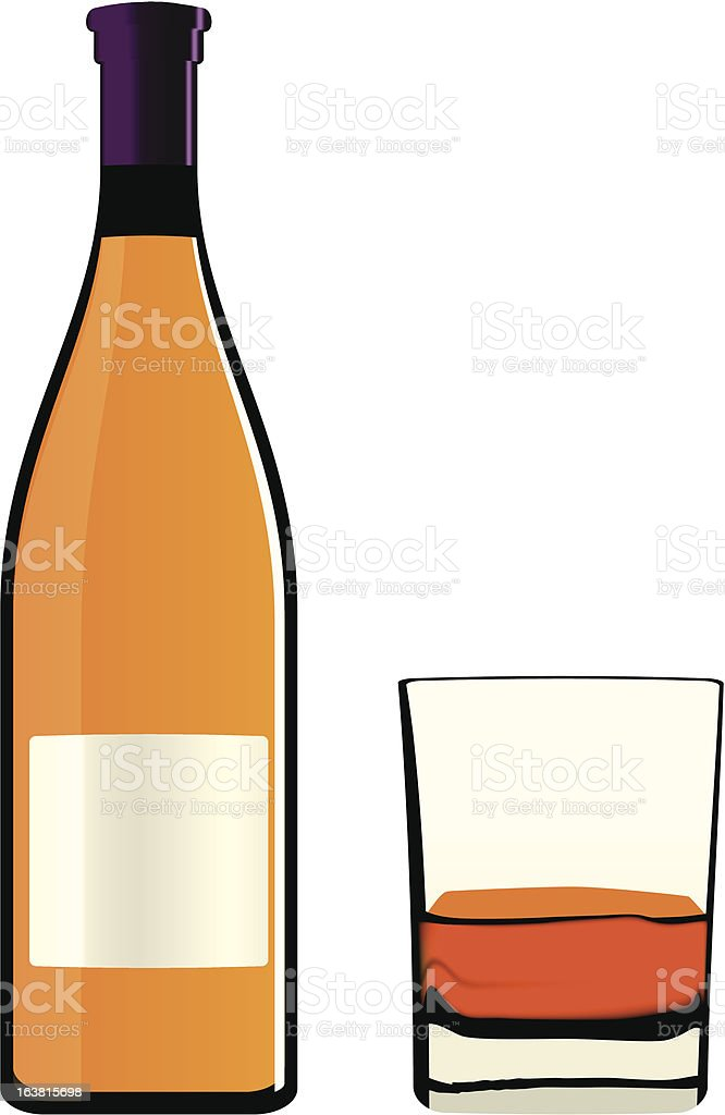 Bottle and glass royalty-free stock vector art