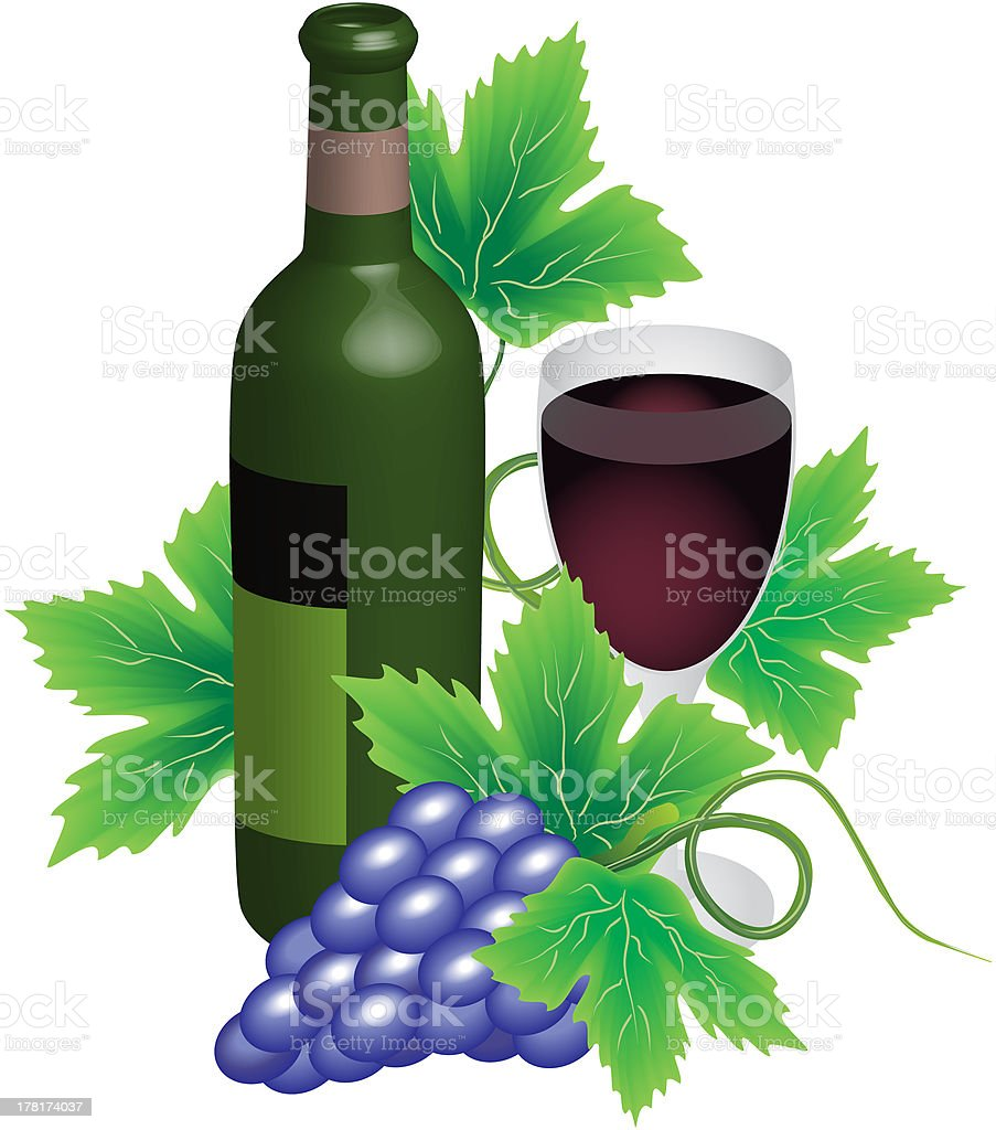 Bottle and glass of red wine royalty-free stock vector art