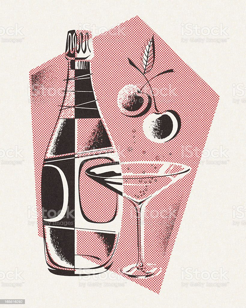 Bottle and Martini Glass royalty-free stock vector art