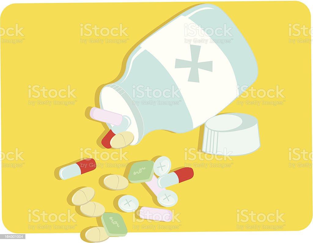 bottle of pills vector art illustration