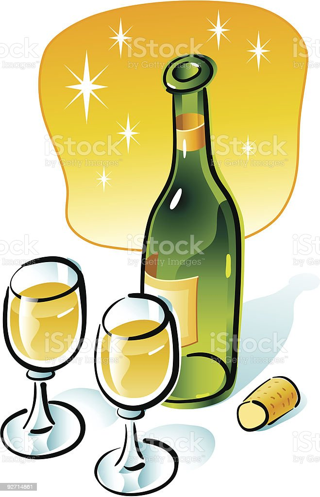 Bottle of white wine. royalty-free stock vector art