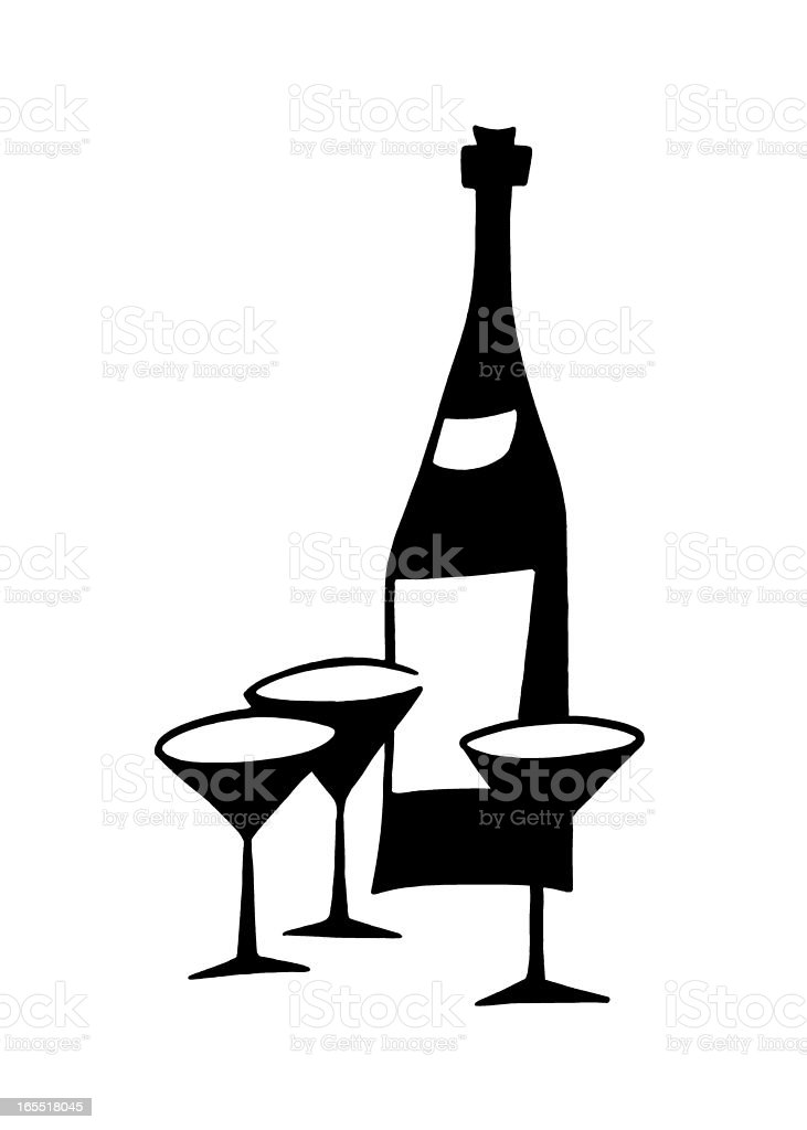 Bottle of Wine and Three Glasses royalty-free stock vector art