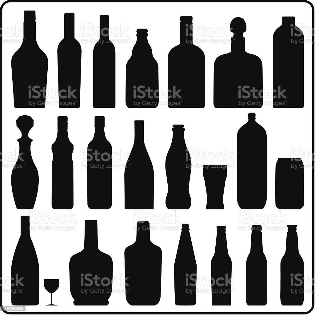 Bottle silhouettes vector art illustration