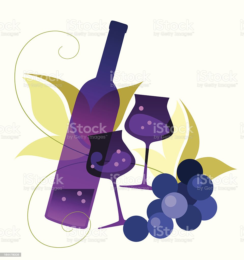 Bottle, wineglassses and grape royalty-free stock vector art