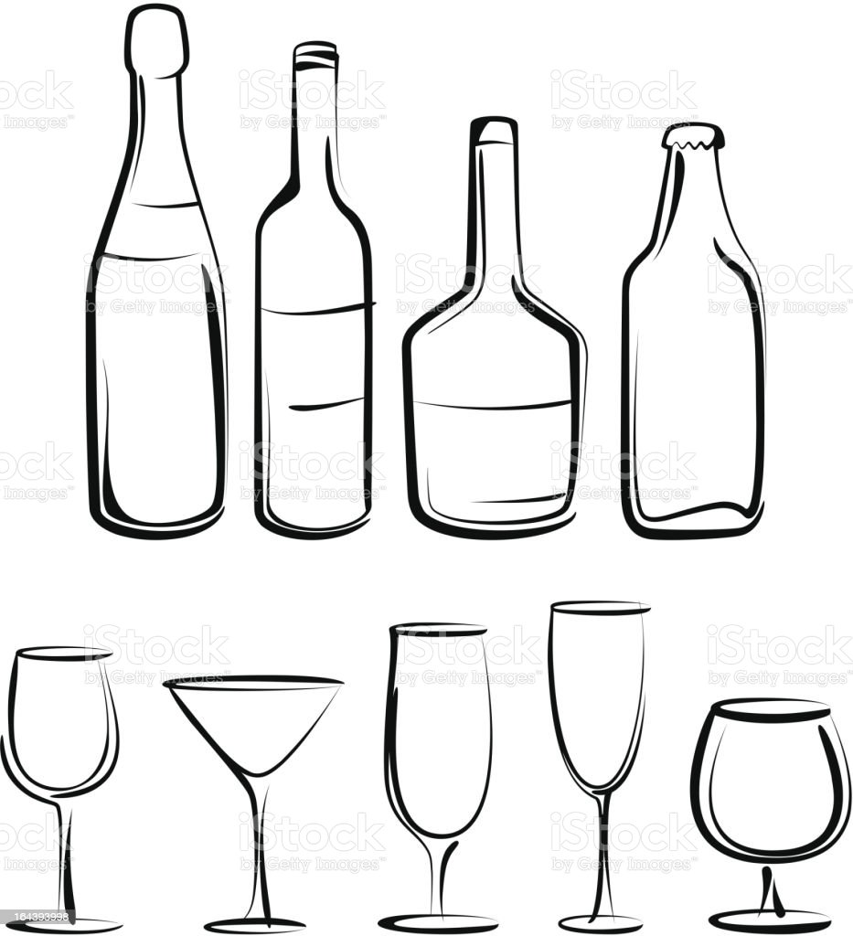 bottles  and glasses set vector art illustration