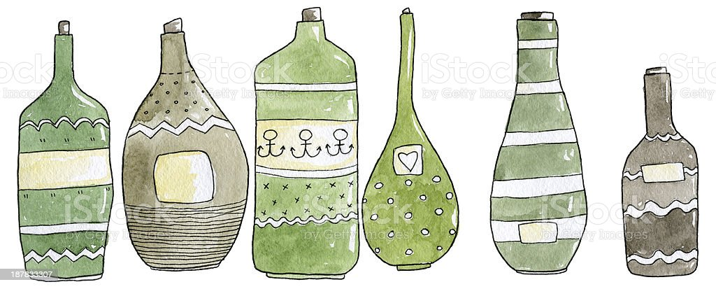 Bottles Watercolor Set royalty-free stock vector art