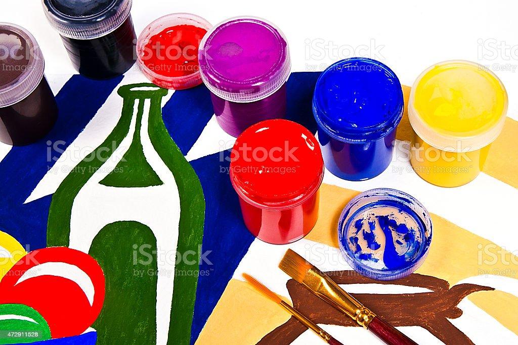 gouache frascos con pinturas y pinceles para obras de arte pinturas. illustracion libre de derechos libre de derechos