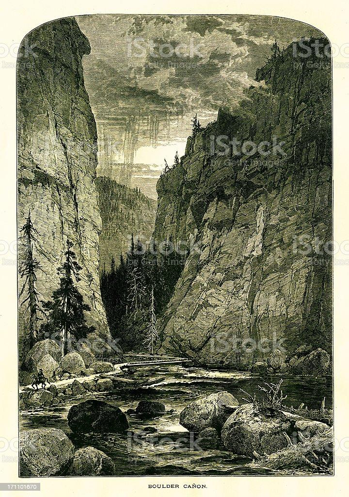 Boulder Canyon, Colorado royalty-free stock vector art