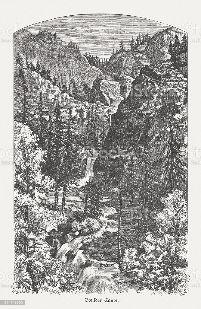 Boulder Canyon, Colorado, USA, wood engraving, published in 1880 vector art illustration