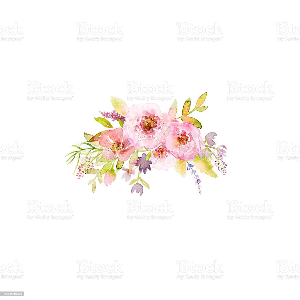 Bouqet of roses and meadow flowers. Hand drawn watercolor flowers vector art illustration
