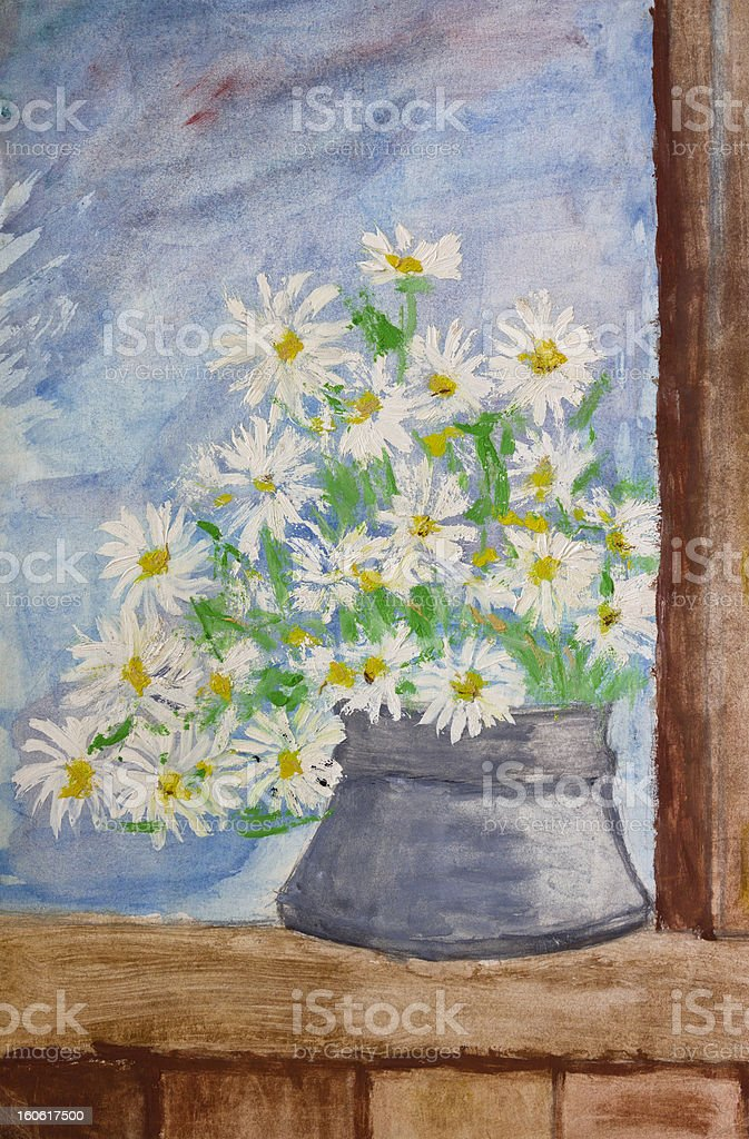Bouquet of daisies painting royalty-free stock vector art