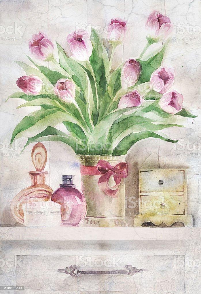 Bouquet of flowers vector art illustration