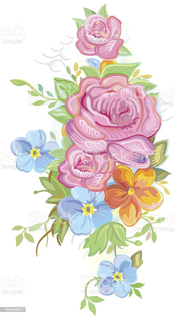 Bouquet of roses and forget-me-nots royalty-free stock vector art