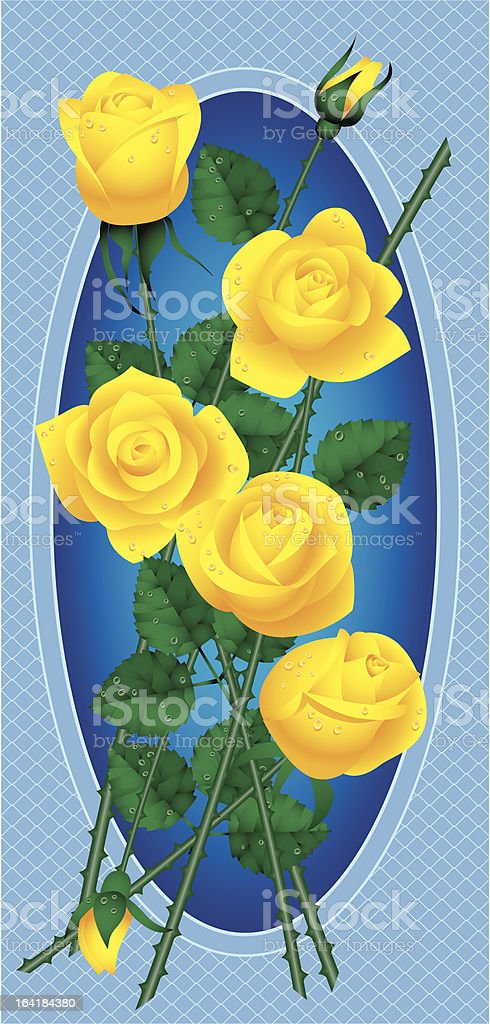 Bouquet of yellow roses royalty-free stock vector art