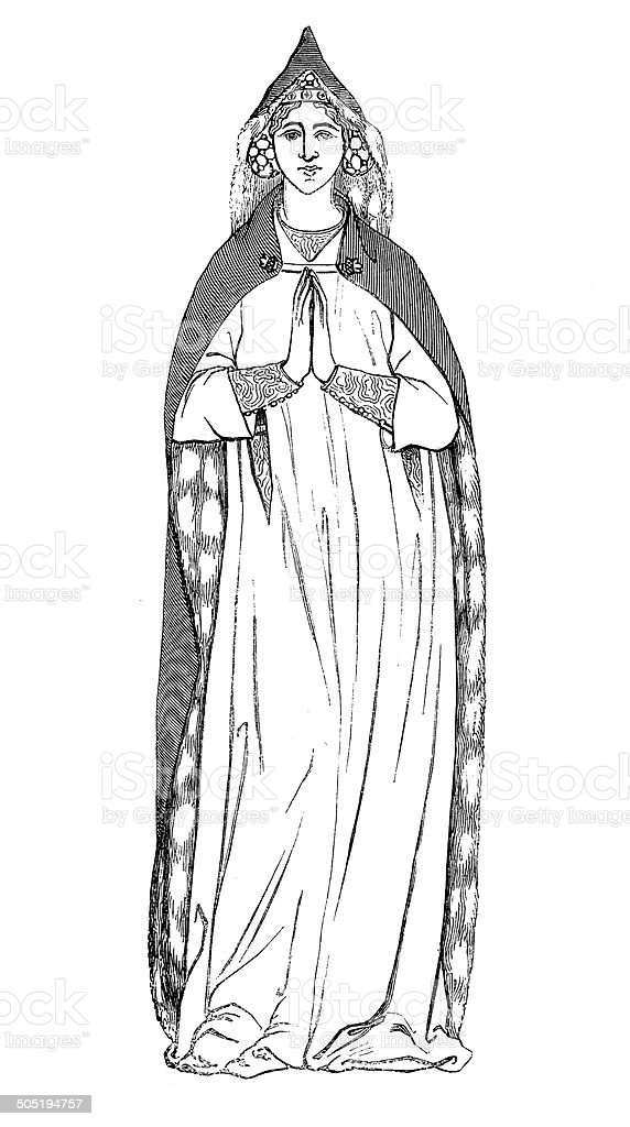Bourgeois Lady in 1333 (antique engraving) vector art illustration