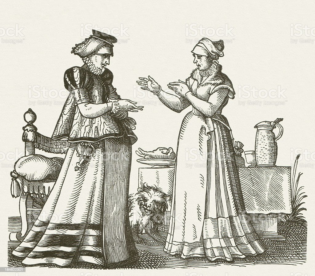 Bourgeois women, 16th century, wood engraving, published in 1881 royalty-free stock vector art