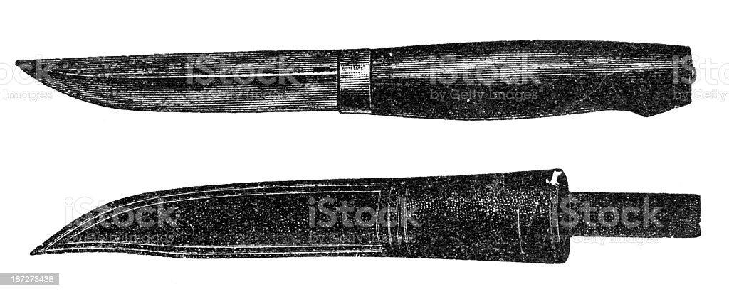 bowie knife vector art illustration