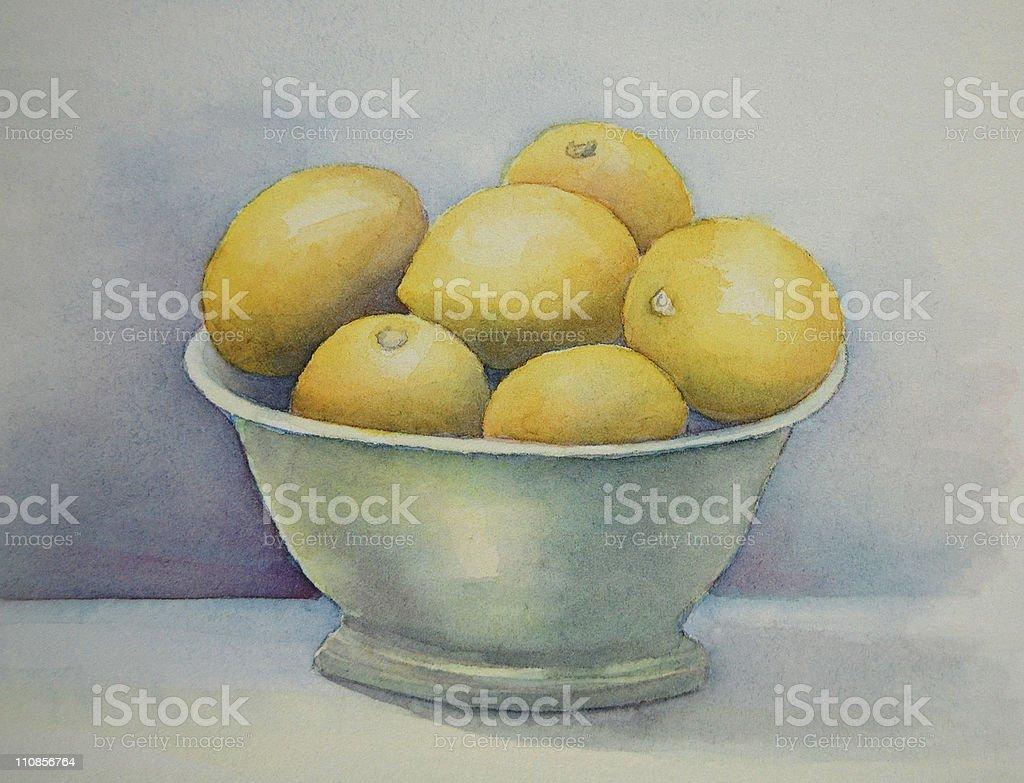 Bowl of Lemons vector art illustration