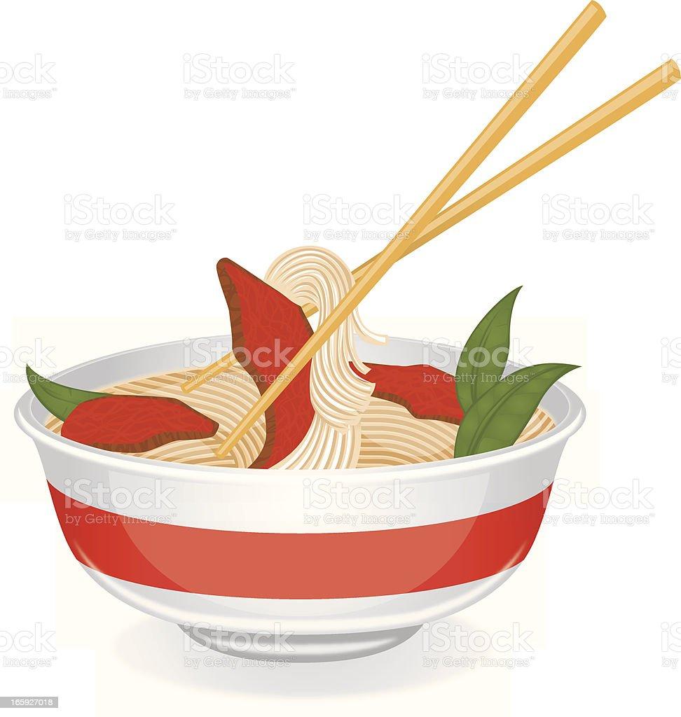 bowl of pho vector art illustration