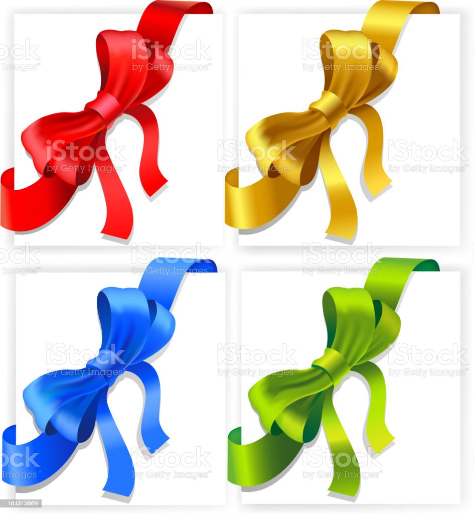 Bows of four colours royalty-free stock vector art