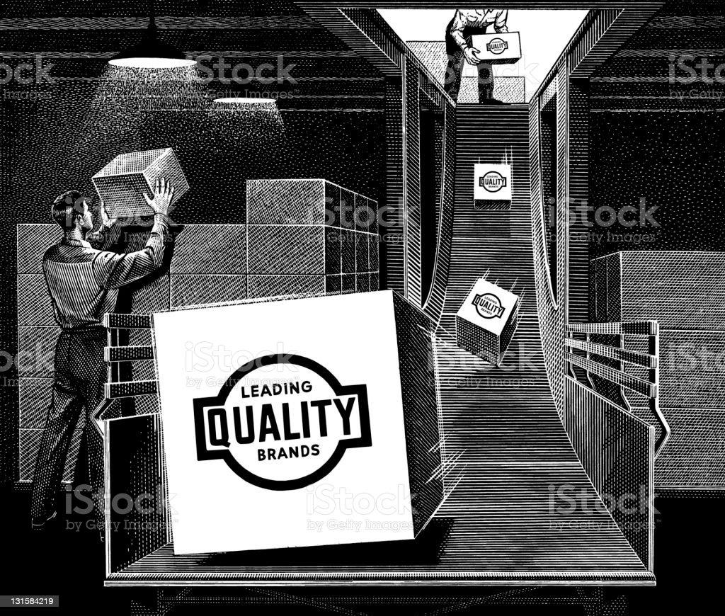 boxes on conveyor belt royalty-free stock vector art