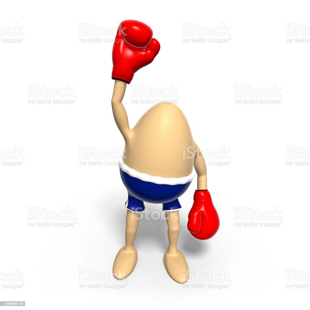 Boxing Egg raises arm royalty-free stock vector art