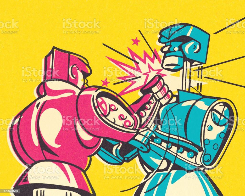 Boxing Robots vector art illustration