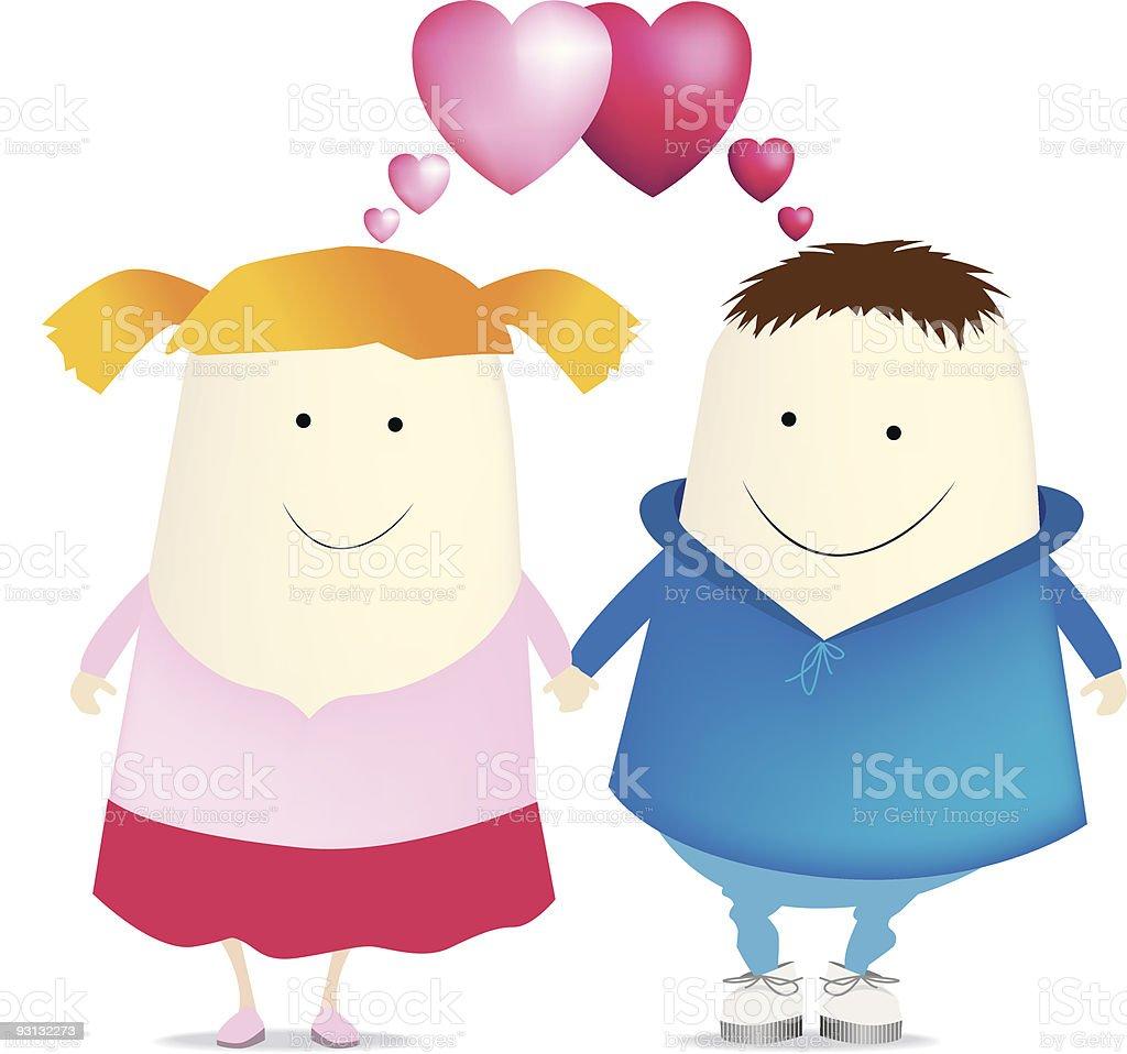 Jungen und Mädchen in love Lizenzfreies vektor illustration