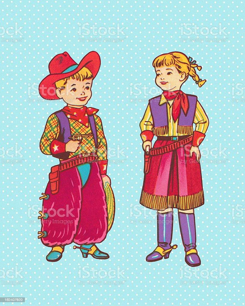 Boy and Girl in Western Wear vector art illustration