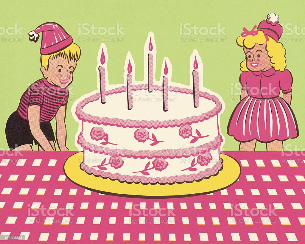 Boy and Girl With Birthday Cake royalty-free stock vector art