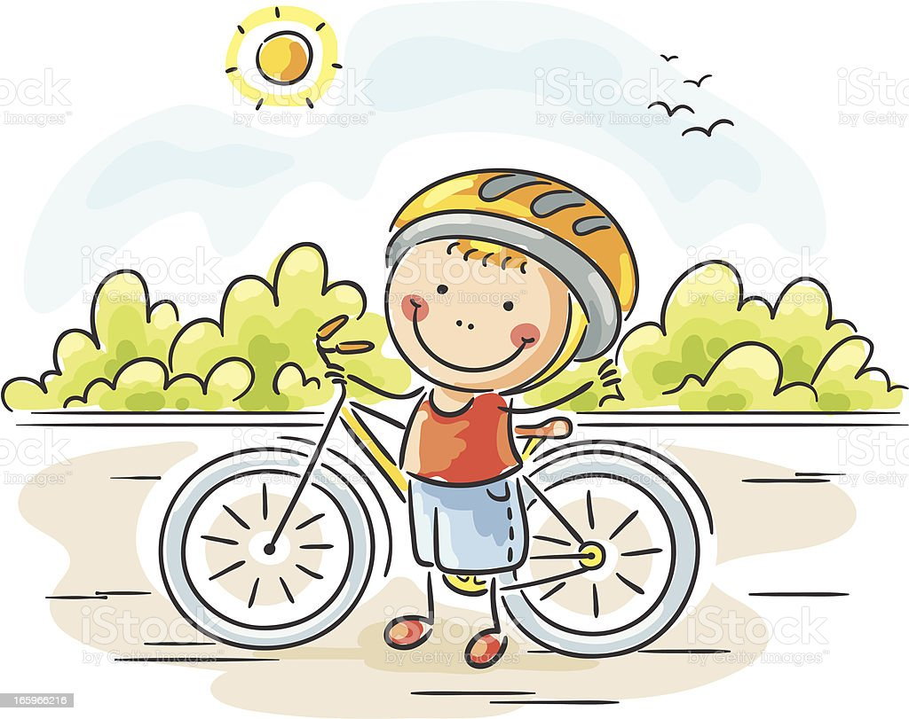 Boy and his bike royalty-free stock vector art