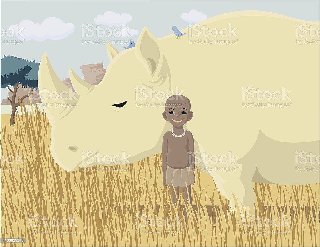 Boy and rhinoceros vector art illustration