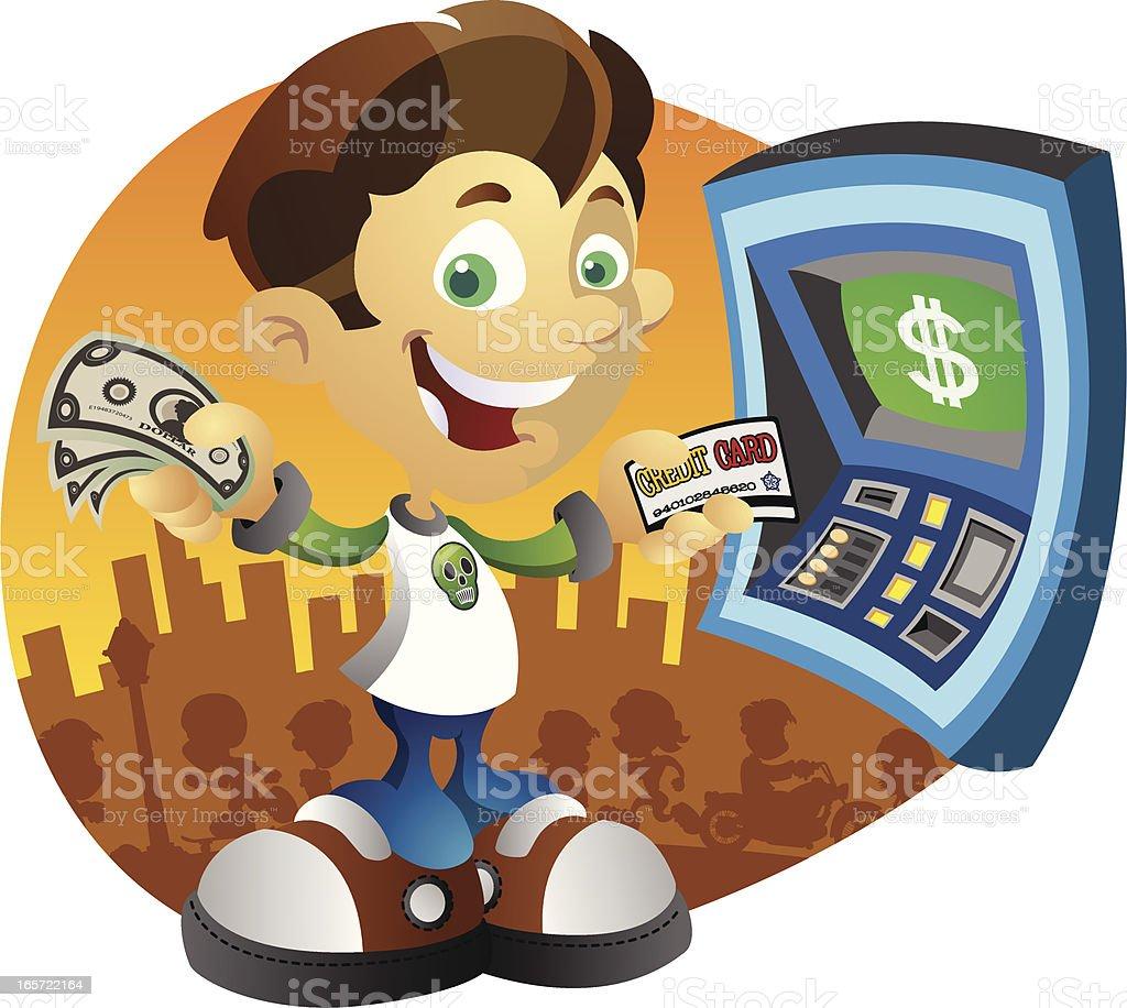 Boy at a Cash Machine vector art illustration