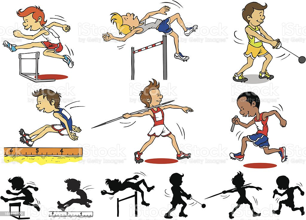 Boy character playing Olympic games royalty-free stock vector art